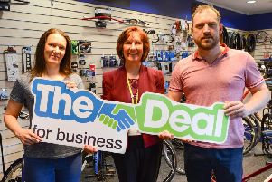 Zoe Kerboas, Janis Maleedy, Wigan Council's Business Investment Officer, and Andrew Kerboas at Ratcliffe's in Leigh
