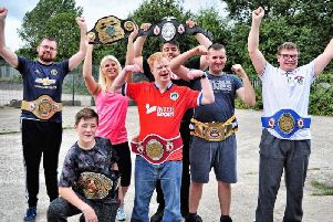 One VIsion with the boxing belts. Picture: Brian King
