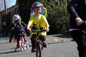 Youngsters taking part in a previous Bike to School Week