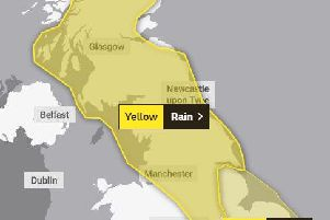 The Met Office has issued a yellow warning for heavy rain across the region today