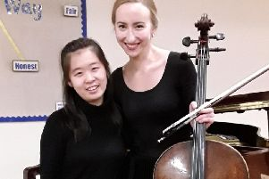 Cellist Tessa Seymour and pianist Xiaowen Shang performed for Tickhill Music Society.