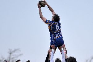 Flying high is Steve Leitch, who scored a crucial try in Dinnington's victory.