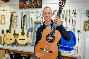 Luthier Richard Hartley showed off his handmade classical guitars in his Harley Studio at the Welbeck Winter Weekend.