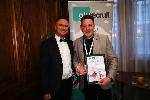 Rob Shaw (left) of Glu Recruit with Matthew Sheridan of Bluebell Wood, winner of the 2019 Office Heroes Award.
