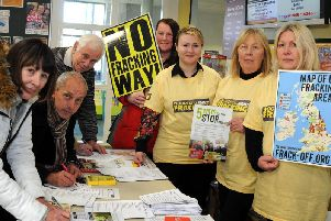 Volunteers from Woodsetts against Fracking, collecting signatures to support their fracking protest.