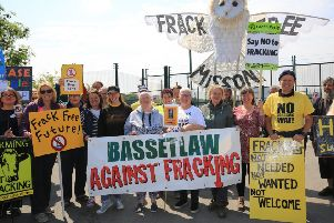 Campaigners at an anti-fracking rally at the Tinker Lane site earlier this year.
