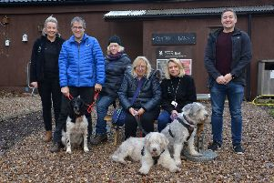 Central Bark manager Sarah Lewis, David and Wendy Ellis with Oscar, Donna Haselhan with dogs Bracken and Bluebell, food and beverage manager Claire Gardener and marketing officer Benedict Mason.