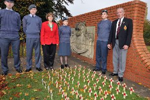 Field of Remembrance in Memorial Gardens, Worksop, pictured with members of Worksop Air Cadets are Coun Sybil Fielding and chairman of Worksop Royal British Legion, Brian Madden