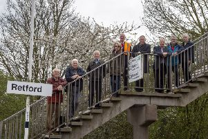 The Department for Transport has approved funding for a lift on platform three at Retford station. Members of the North Notts & Lincs Community Rail Partnership with Retford Civic Society chairman Derek Turner, John Mann MP, and town mayor Mick Storey.