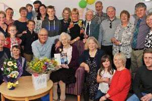 Edith Blunt with family and friends.