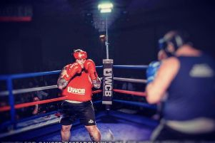 Jake Lee at the Ultra White Collar Boxing event.