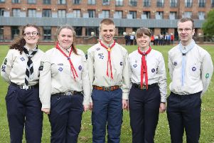 Catherine Lawrence, second from right, took part in the St George's Day parade at Windsor Castle to mark her successful completion of the Queen's Scout award as a member of the 1st Whitwell Scout and Guide group.