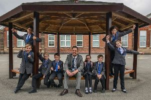 The Parkgate Academy, Ollerton are celebrating a good Ofsted result. Principal Mark Nunn is pictured with pupils.
