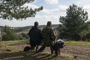 Two visitors enjoying the spectacular views from Manton Pit Wood, just outside Worksop.