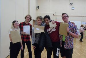 Students receiving their A-level results