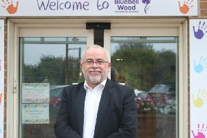 Bluebell Wood volunteer Rev Andrew Platts on a visit to the hospice.