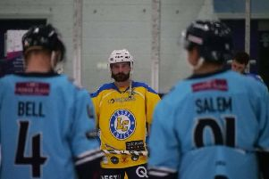 Sam ZAjac sizes up Leeds Chiefs' firstever opponents at Ice Sheffield on Sunday. Picture: Chris Stratford.