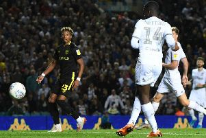 DOUBLE TROUBLE: Eddie Nketiah scores Leeds United's winner against Brentford with Patrick Bamford also on the pitch at the same time. Photo by George Wood/Getty Images.