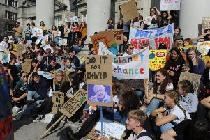 Climate Strike protest in Millennium Square in Leeds city centre.