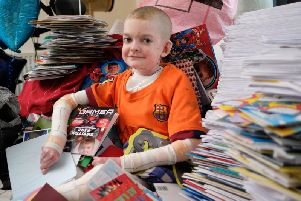 Rhys Williams received 18,000 birthday cards from well-wishers for his 14th birthday today. Photo: SWNS