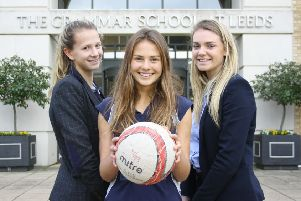 Grammar School at Leeds netballers''(L-R) Rosie Harris, Lexy Shipley and Hannah Gorman