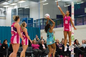 HIGH AIMS: Yorkshire Jets' Stacey Francis attempts to make an attempt on goal difficult for her Surrey Storm opponent.