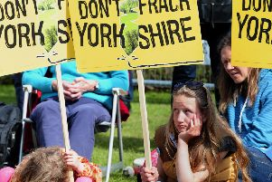 Young protesters outside the North Yorkshire council meeting that gave fracking the go ahead. John Giles/PA Wire