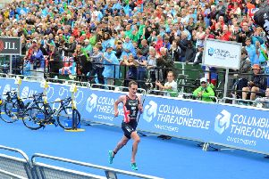 Alistair Brownlee charges to the winning line in Leeds.