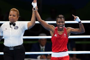 Leeds's own Nicola Adams celebrates victory following her flyweight semi final match against China's Ren Cancan. Photo: David Davies/PA Wire.