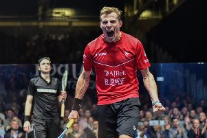 PUMPED: Nick MAtthew celebrates his British Grand Prix win over fellow Yorkshireman Nick Matthew in Manchester on Monday night. Picture: PSA.