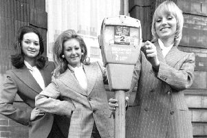 APRIL 1973: ''Models modelling French suits from the Fabrics from France Exhibition at the Metropole Hotel.