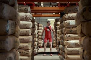 Alistair Brownlee in the Yorkshire Tea distribution warehouse