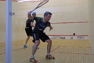 James Willstrop, left, on his way to a first round defeat to France's Mathieu Castagenet. Picture courtesy of PSA.