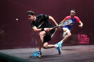 James Willstrop, lefvt, in action against Mohamed ElShorbagy in Dubai. Picture courtesy of PSA
