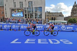 11 June 2017.......  Columbia Threadneedle World Triathlon in Leeds.'Alistair and Jonny Brownlee in the Elite Mens Race. Picture Tony Johnson.