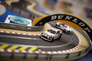 Scalextric electric car racing set. PIC: PA