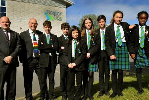 Pupils from Boston Spa Academy, with their headteacher Chris Walsh (second left) and Sir John Townsley, The Gorse Academies Trust Chief Executive (left).