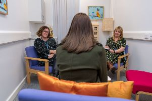 "Date: 26th February 2018. Picture James Hardisty. Chapeltown-based Leeds Children and Young People�""s Eating Disorders service, run by Leeds Community Healthcare NHS Trust at The Reginald Centre, Chapeltown Road, Leeds. Pictured Kate Burns, Team Manager, of  Leedscamhs with Dr Julie Franklin, Consultant Clinical Psychologist, chatting to a young person."