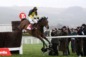 Mister McGoldrick and Dominic Elsworth clear the last in the Racing Post Plate at Cheltenham in March 2008.