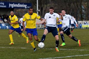 Guiseley's Dayle Southwell netted the winner for Guiseley at Hartlepool United on Easter Monday. PIC: James Hardisty