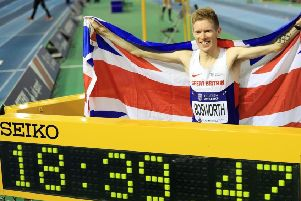Record: Leeds race walker Tom Bosworth broke the British 3,000m record in Sheffield earlier this year.
