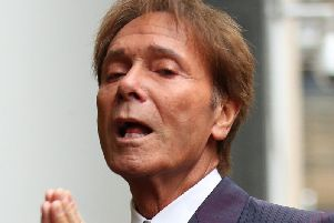 Sir Cliff arriving at court this morning
