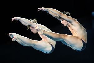 Yorkshire's Jack Laugher, left, and Chris Mears during the Men's Synchronised 3m Springboard at the Optus Aquatic Centre. Picture: Danny Lawson/PA.