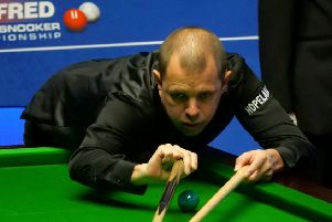 TAKE A BREAK: Barry Hawkins during his match against Ding Junhui at The Crucible. Picture: Tim Goode/PA