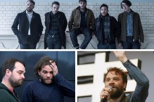 """Police say a body has been found in the search for Frightened Rabbit singer Scott Hutchison. On Thursday, Mr Hutchison's brothers, Grant and Neil (pictured bottom left), had said they were """"distraught"""" about his disappearance and appealed for him to get in touch."""