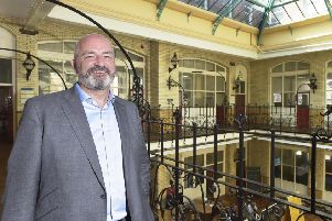 Ronan Faherty, chief executive of Id� Real Estate, which is preparing plans to develop a site in the city's innovation district 'pictured at  The Atrium, Thoresby House, Great George St, Leeds