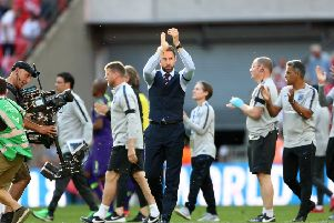 KEY MOMENTS: England manager Gareth Southgate applauds the fans after the final whistle at Wembley�on Saturday. Picture: Tim Goode/PA