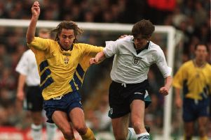 Hero: Darren Anderton, battling with Henrik Larsson, struck late for England. Picture: Chris Cole/Allsport/Getty Images