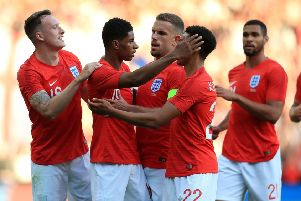 England's Marcus Rashford (second left) celebrates scoring his side's first goal of the game during the International Friendly match at Elland Road, Leeds. (Picture: PA)