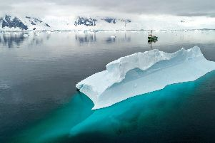 Photo issued by Greenpeace of their ship Artic Sunrise in Charlotte Bay, Antarctic Peninsula, as new research shows that Antarctica's most remote and pristine habitats are contaminated with microplastic waste and persistent hazardous chemicals.